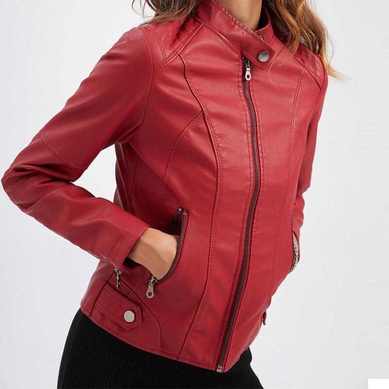 Куртка женская демисезонная из ПУ кожи, с воротником-стойкой