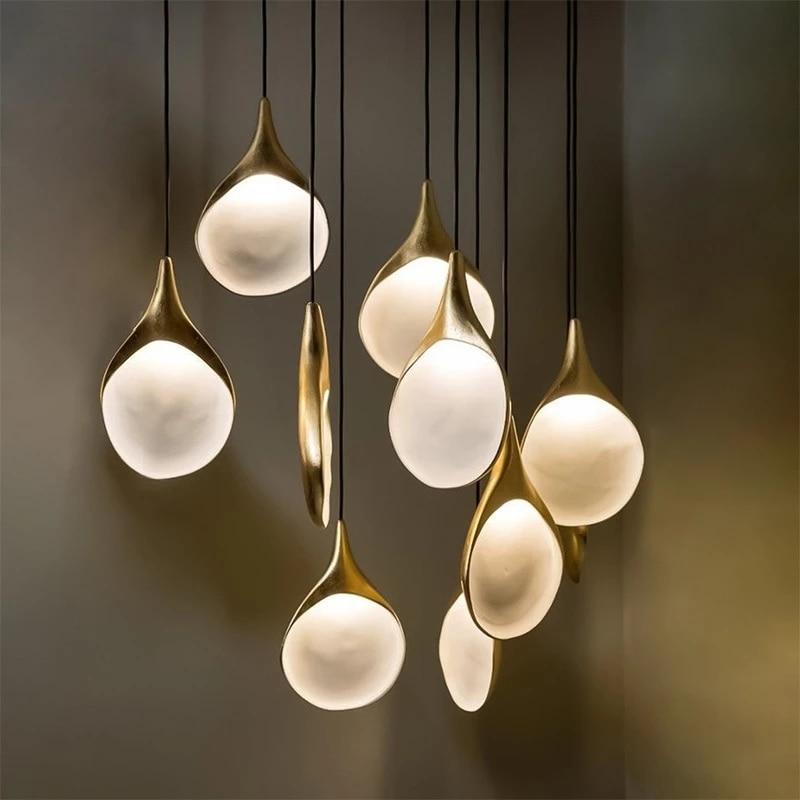 Светодиодные подвесные светильники «ложка», латунные полимерные подвесные светильники для украшения гостиной, ресторана, барные люстры, к...