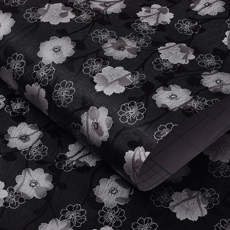 Película de ventana autoadhesiva con pegamento Base negra flor blanca Protección de Privacidad lámina de vidrio decorativa para el hogar Oficina restaurante