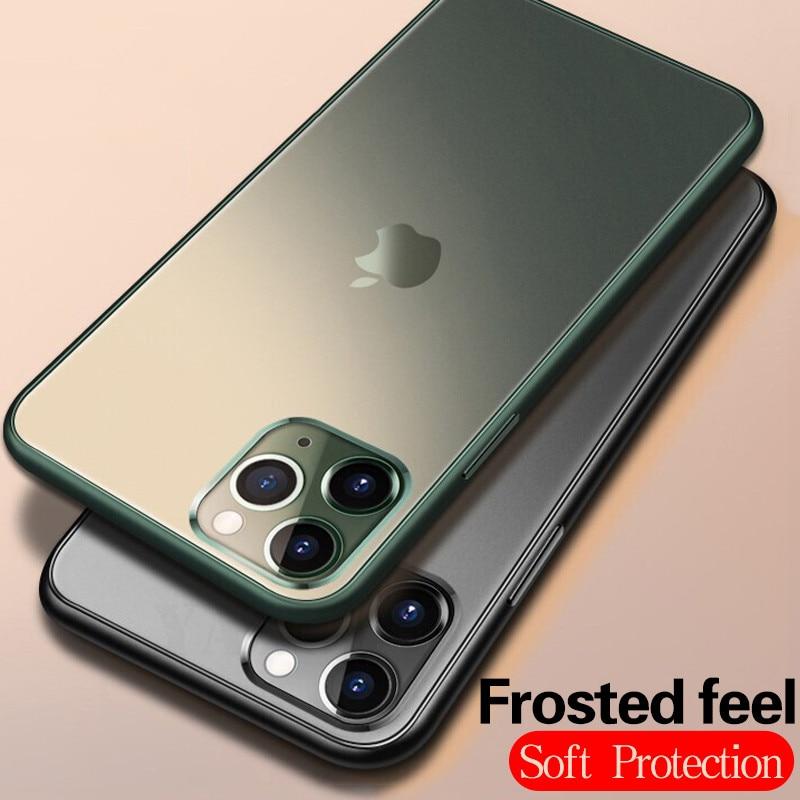 Fundas de lujo mate para iPhone XS Max X XR 6 6S 7 8 Plus carcasa transparente esmerilada para iPhone 11 Pro funda protectora máxima