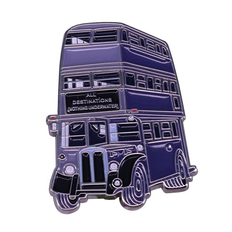 Knight Bus modelo juguete Pin mágico Triple Decker autobús insignia perfecta para Wizarding World Fans