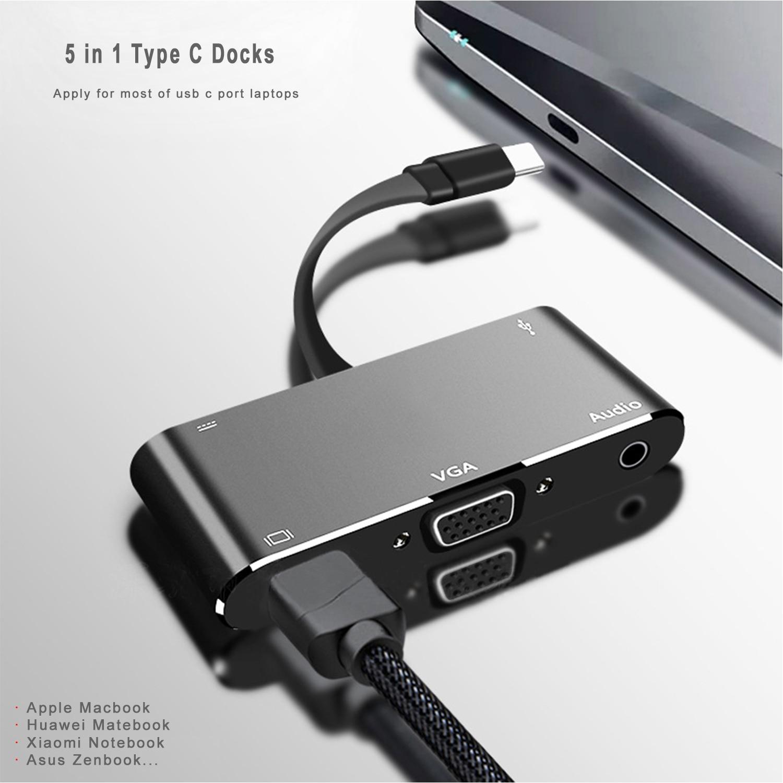 YMY 5-in-1 USB C دوكس متعددة الوظائف الألومنيوم نوع C محول تنفق إلى 4K HDMI/VGA/الصوت/USB3.0/USB-C PD الشحن