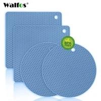 walfos silicone trivet mats 4 heat resistant pot holders multipurpose non slip for kitchen potholders hot dishers jar opener