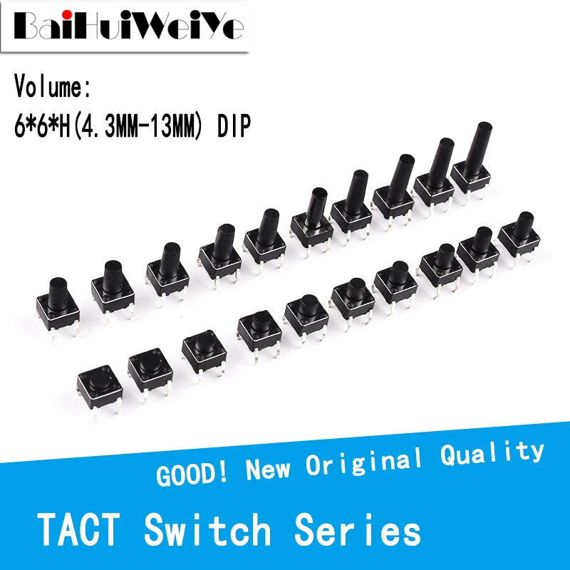 Тактовый Выключатель 50 шт./лот 6x6 мм, медный 4-контактный микро-переключатель DIP, 12 В, для ТВ/игрушек/домашнего использования, 6x6x4, 3/5/6/7-13 мм