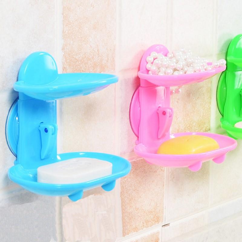 Caja de jabón de cocina de doble capa, herramientas para baño, accesorios, jabonera, soporte de succión, cesta de almacenamiento, soporte para jabonera