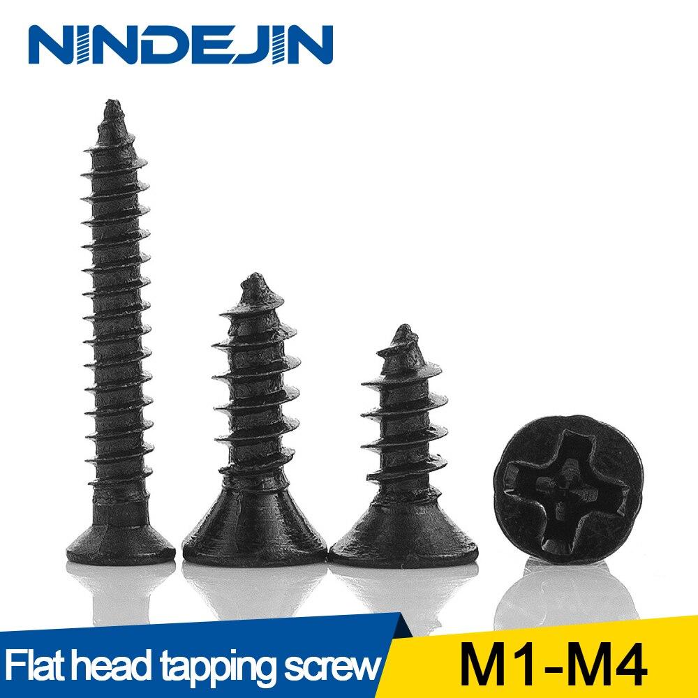 50/100 Uds Cruz avellanada cabeza plana tornillo autorroscante M1 M1.2 M1.4 M1.5 M2 M2.6 M3 M3.5 M4 Tornillo de acero al carbono negro