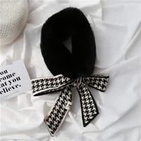 faux rex rabbit fur scarf ring for women knitted plaid ribbon ladies fur collar new winter warm neckerchief swallow grid black