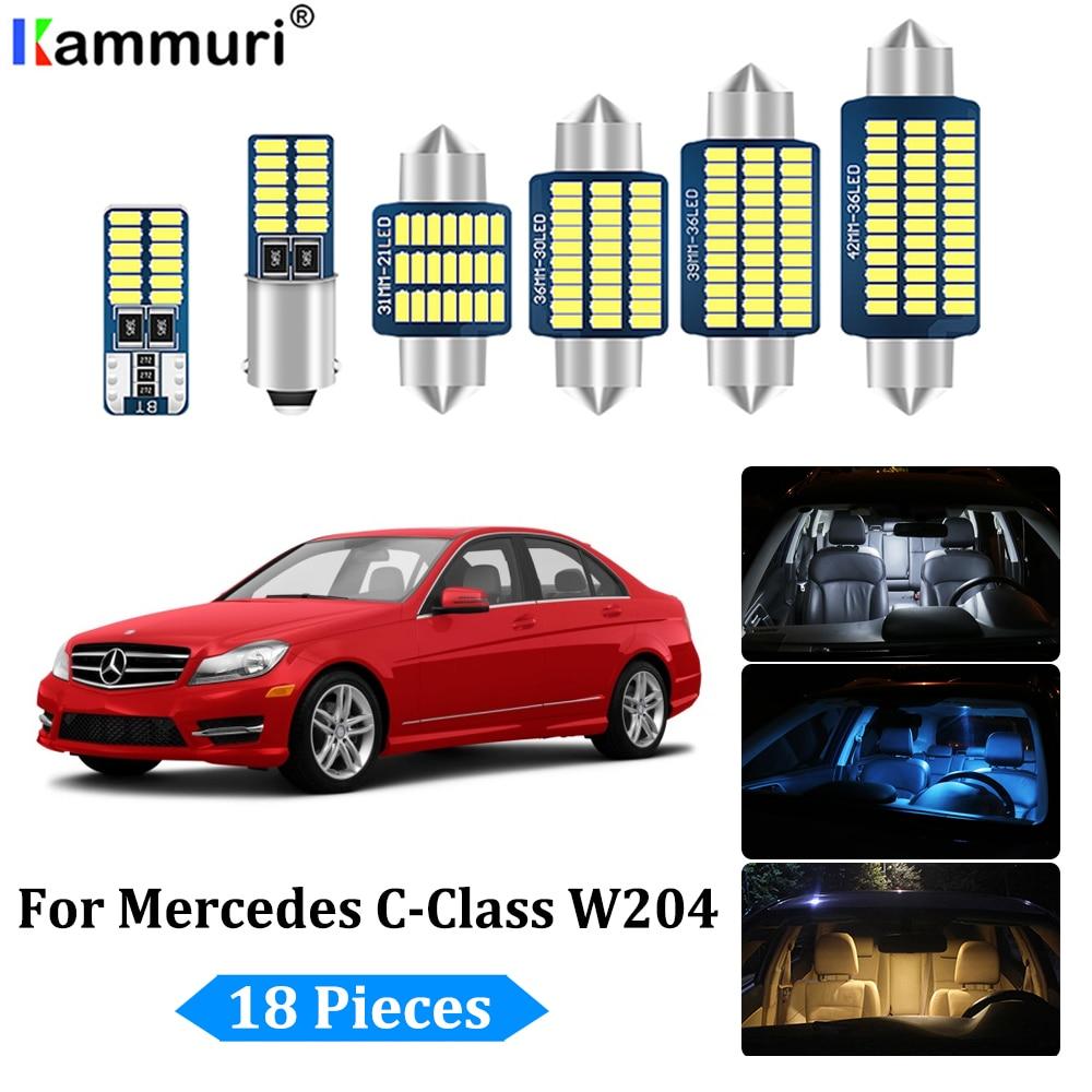 KAMMURI 18 Uds lámpara LED Luz de techo Interior Kit para Mercedes-Benz Clase C W204 sedán C180 C200 C220 C250 C300 C350 (2008-2014)