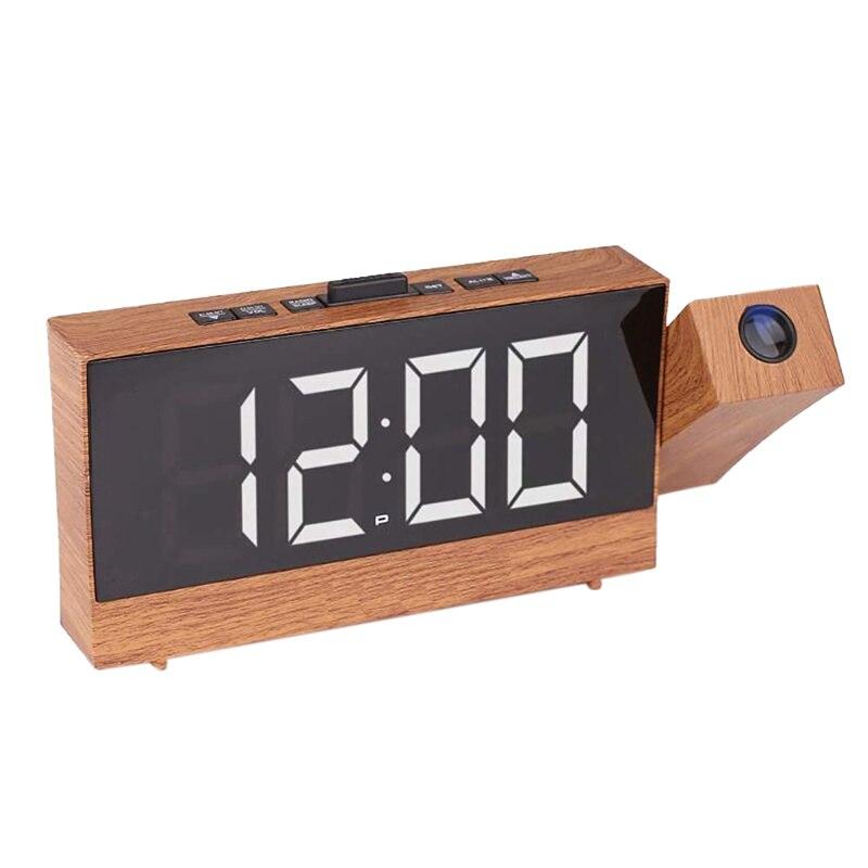 Proyección Radio despertador reloj LED Digital escritorio reloj de mesa función de repetición 180 grados ajustable con temporizador de sueño