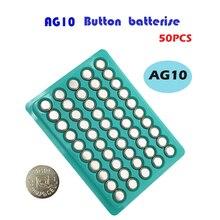 AG10 50Pcs AG 10 1.5V Button Cell Battery 150mAh LR54  L1131 SR1130 189 Coin Button Batteries For Sm
