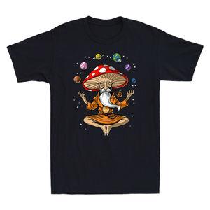 Planet Meditation Magic Mushroom Yoga Funny Graphic Men T-Shirt Cotton Black Tee Vintage Aesthetic Grunge Tshirt Top Tees Male