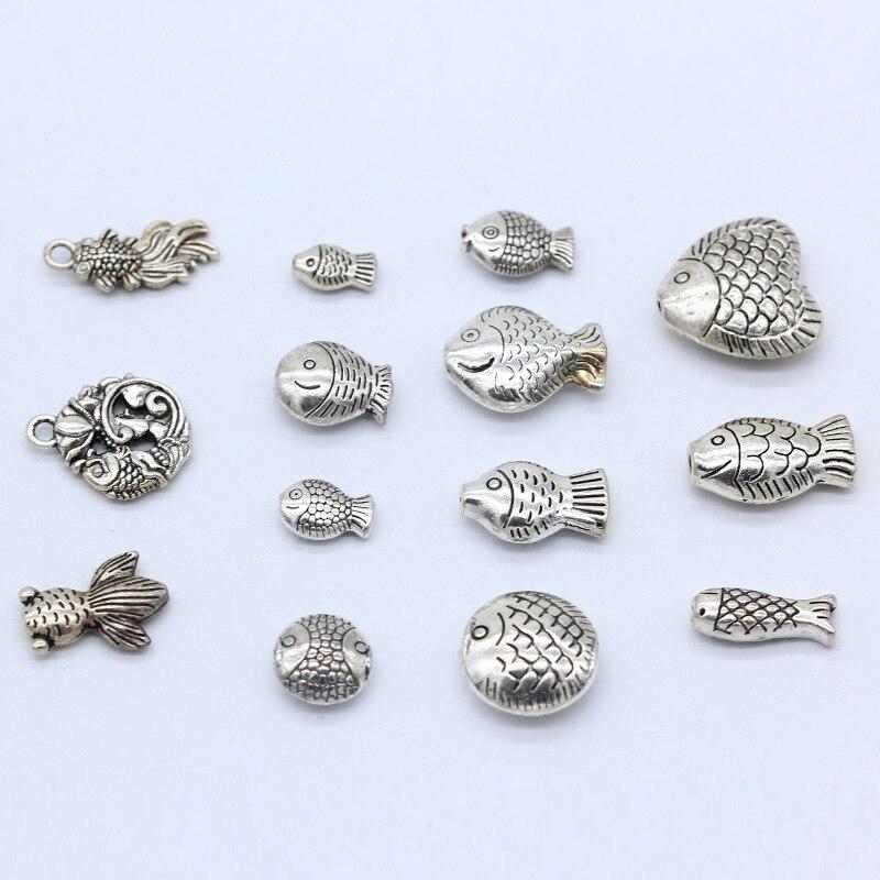 20p Antigo Tibetano Afortunado de prata peixe feliz encantos spacer solta pérolas esculpida artesanato descobertas jóias conectores multi-formas
