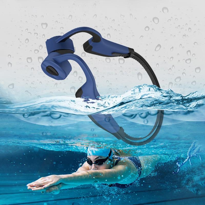 Fone de Ouvido com Memória Fone de Ouvido sem Fio Bluetooth à Prova Água para Esportes em Execução Profissional Natação Condução Óssea Dwaterproof 16g Mp3