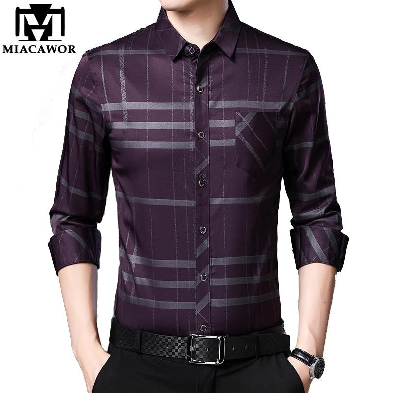 Miacawor nova primavera camisas de manga longa dos homens xadrez camisas casuais magro ajuste masculino streetwear marca roupas masculinas c587
