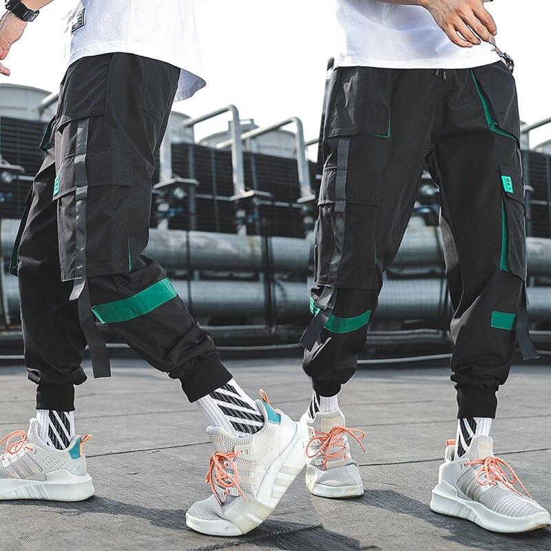 Корейские мужские модные свободные штаны-карго, студенческие шаровары, мужские повседневные штаны в стиле хип-хоп, черные спортивные штаны,...