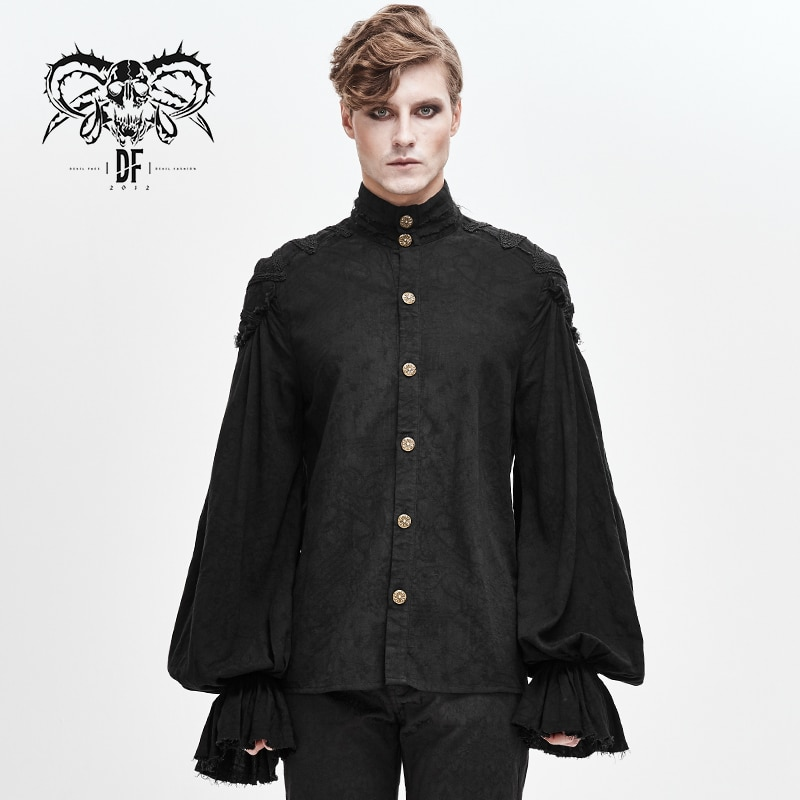 Devil Fashion Men's Gothic Lantem Long Sleeve Blouses Printing Pattern Formal Evening Dinner Banquet Dress Shirts