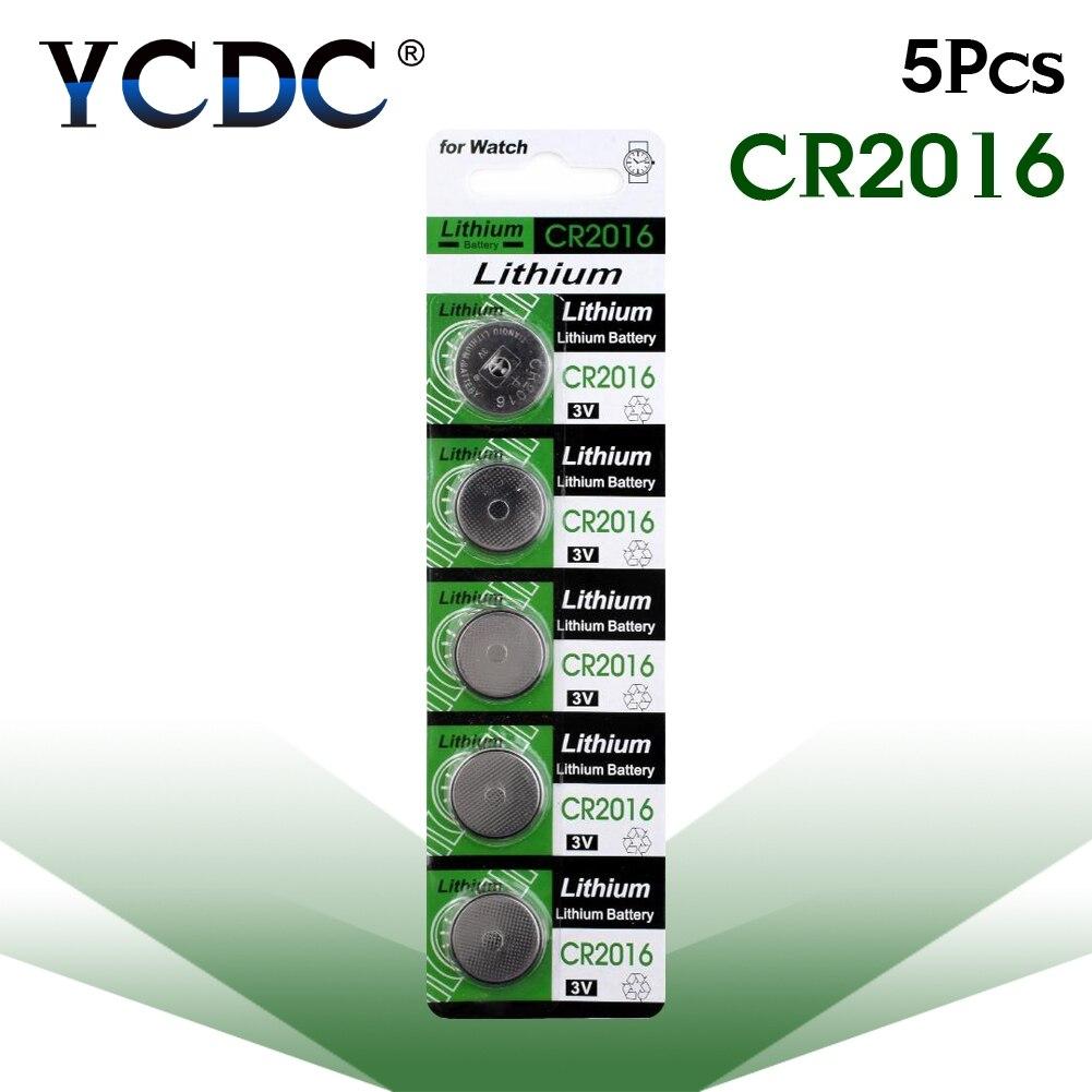 Pilas de botón 5 uds./card 3V CR 2016 CR2016 LM2016 BR2016 DL2016, batería de botón de litio para reloj, calculadora electrónica de juguete