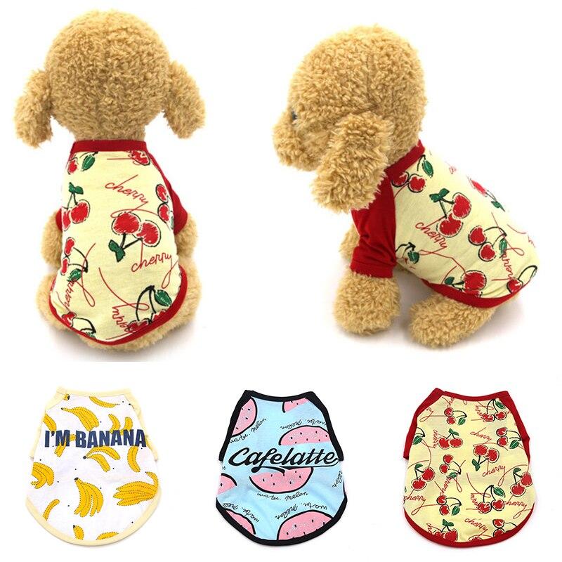 Fruit Printed Small Dog Vest Short Sleeves Pet Vest Watermelon Banana 2 Feet Fruit Dog Clothes Cotton Thin Soft Dog Cat Vest