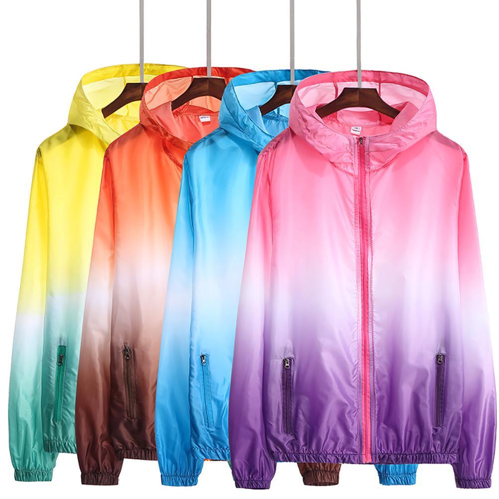 Kids Gradient Color Quick Dry Pockets Hooded Anti UV Sun Protection Coat Jacket Gradient Color Anti UV Pockets Zip Closure Coat