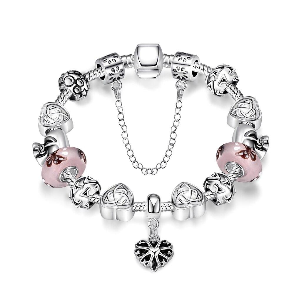 NB10 رومانسية القلب زركونيا حجر المشاركة سوار Charm للنساء مجوهرات الزفاف