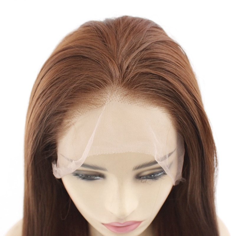 2#6#8# Long Silky Straight Brown Synthetic Hair Wig with Honey Blonde Glueless Lace Front Wigs For Women Heat Resistant 24inches  - buy with discount