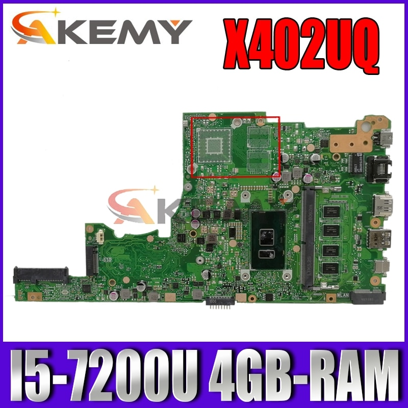 Akemy X402UQ اللوحة الأم لأجهزة الكمبيوتر المحمول ASUS VivoBook 14 X405UA S4100U اللوحة الرئيسية الأصلية 4GB-RAM I5-7200U جنرال موتورز