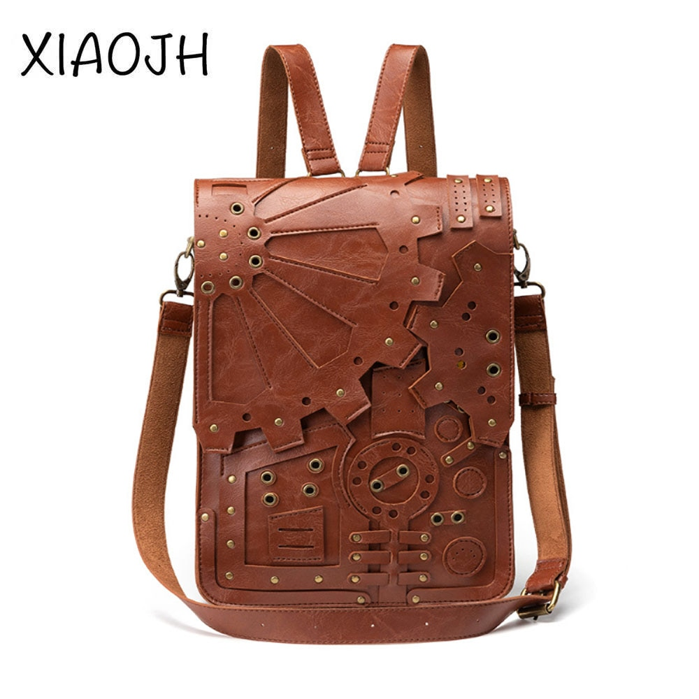 Womens Bag Backpack Pu Retro Gear Personality Steampunk Male High Quality Student School Outdoor Shoulder Messenger Hot