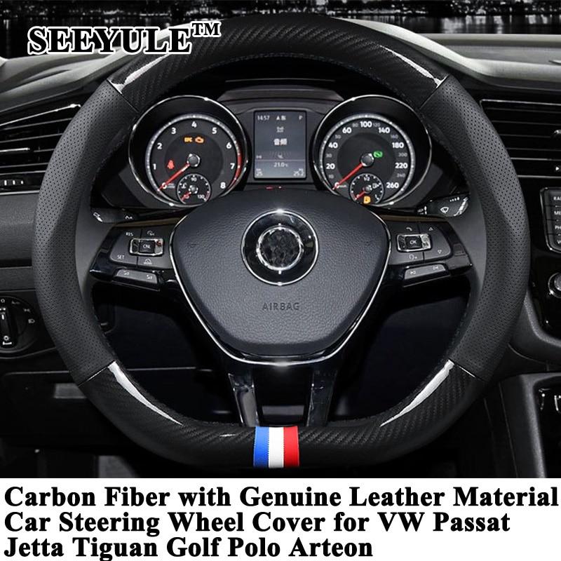 1pc SEEYULE deportivo Protector para volante de coche Protector de fibra de carbono de cuero genuino para VW Passat Jetta Tiguan Golf Polo Arteon