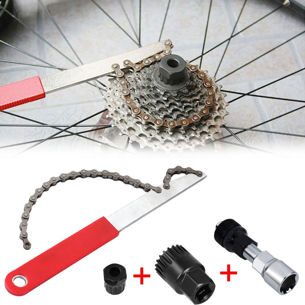 Bicycle Flywheel Repair Tool Flywheel Wrench Chain Wrench Installation Removal Tool Kits MTB Road Bike Accessories mtb road bike bicycle sprocket nut chain wrench crankcase disassembly spanner chainwheel dismounting tool