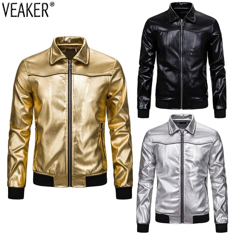 2019 nouveau hommes boîte de nuit brillant or vestes manteau mâle couleur unie coupe mince col rabattu veste dextérieur S-2XL