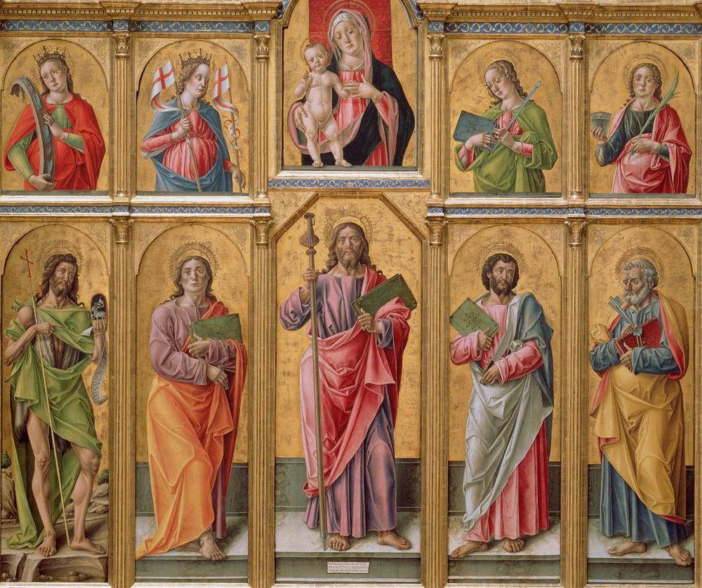 Políptico com Saint Madonna e Criança Cristo e Santos Cópia da Arte da Pintura sobre Tela Arte Religiosa James Major João Top