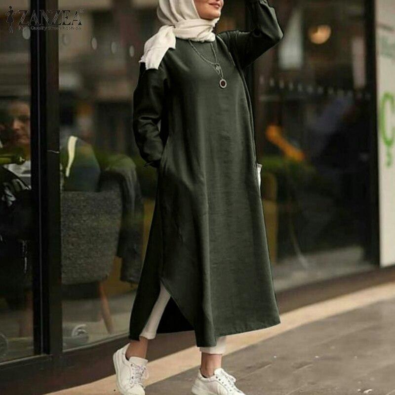 Zanzea 2020 elegante muçulmano maxi vestido de verão islâmico feminino manga longa vestidos feminino casual sólido robe femme plus size 5xl