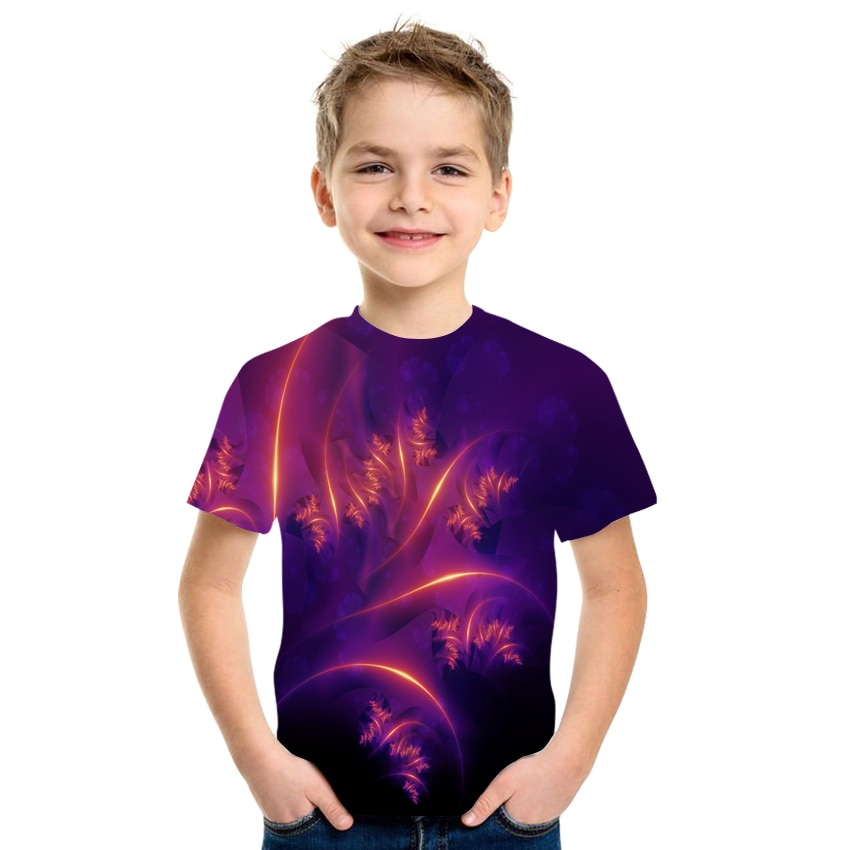 2021 Summer Boy T-Shirt 3D Children Girl Childrens Clothing Clothes Short-Sleeved New