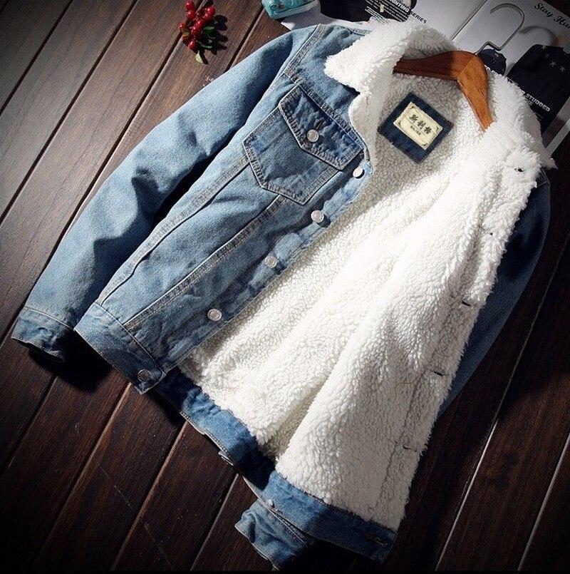 Chaqueta y abrigo para hombre chaqueta de mezclilla gruesa de lana a la moda de invierno 2019 chaqueta de Jean para hombre tamaño 6XL