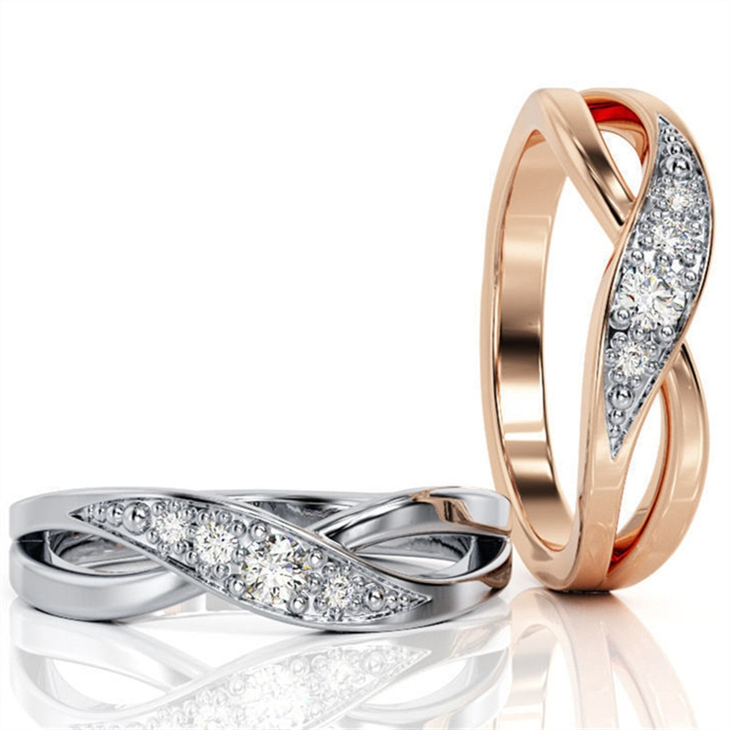 Infinity Cross Rhinestone pareja anillos encantadores oro rosa plata Color acero inoxidable anillos moda boda joyería