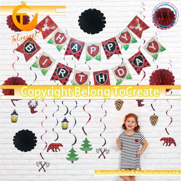 Nuevo tema bosque Lumberjack decora el traje fiesta de cumpleaños bebé tirar de la bandera del Elevador espiral flores de papel celular