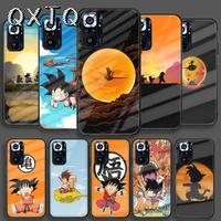 cute dragon balls goku tempered glass smart phone case for xiaomi redmi note 7 8 9 10 k 30 40 s a c t pro cover cell etui bumper