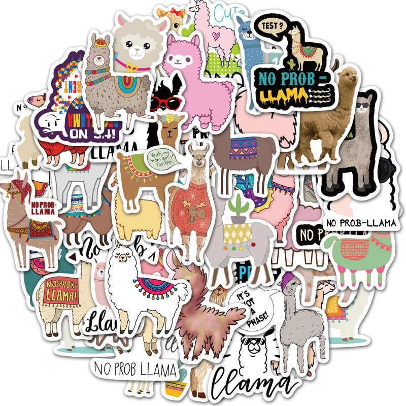 50 unids/lote de pegatinas bonitas de Alpaca de dibujos animados para ordenador portátil, Skateboard, equipaje, refrigerador, cuaderno de guitarra, camello, oveja, pegatina de Animal