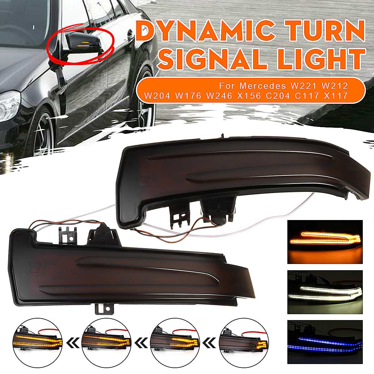 Luz sinal de seta dinâmica de led, 2 peças, indicador de espelho, luz de espelho, para mercedes benz w211, w246, w204, w212, c117, x156, c204 x117