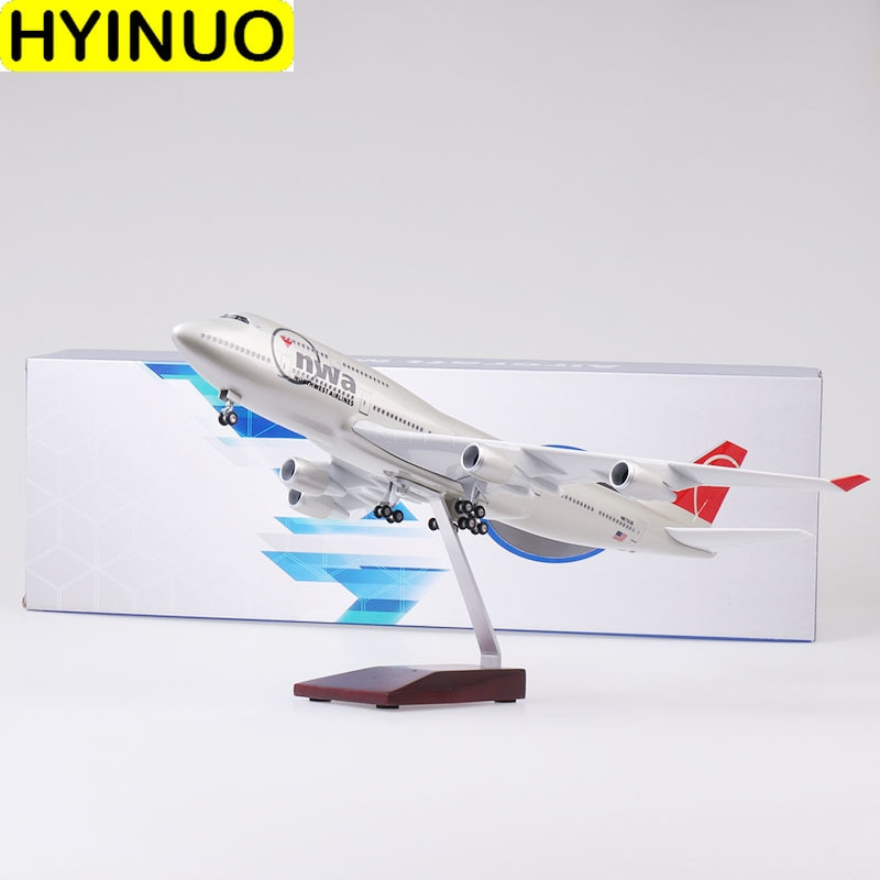 47CM Boeing 747 B747 modelo nwa norwest aerolíneas con ruedas de tren de aterrizaje luces Avión de resina juguetes coleccionables