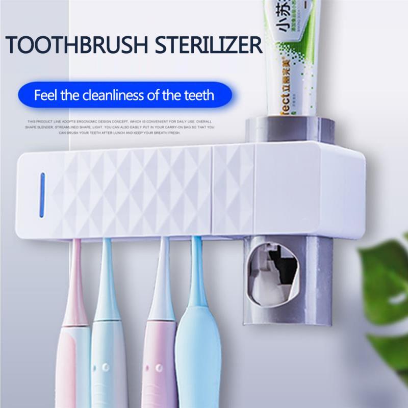 Esterilizador ultravioleta para cepillo dental, soporte para cepillo de dientes, dispensador de exprimidores de pasta de dientes automático, accesorio de baño Dropship para cuidado bucal