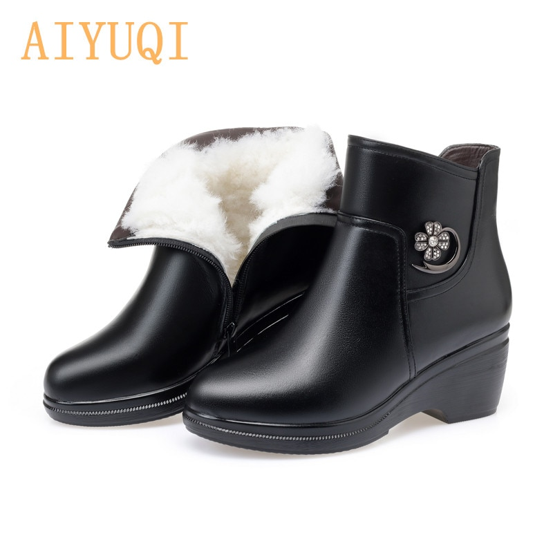 AIYUQI 2021 Winter Boots Women Genuine Leather Big Size Mother Wedge Boot Black Platform Boots Thick