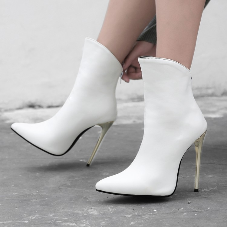 Zapatos de gran tamaño 11 12 13 14 15 16 17 señoras con tacones delgados hacen que las botas de tobillo se vean delgadas y elegantes con cremallera trasera