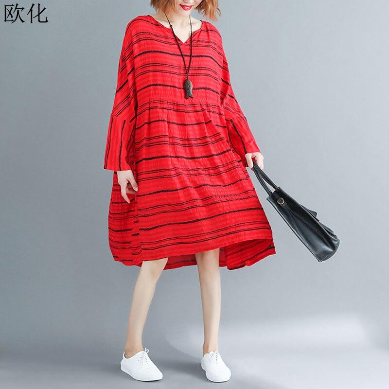 2020 nuevo vestido de verano de talla grande de manga larga vestido de algodón a rayas Vestidos plisados de lino Vintage Vestidos de mujer 4XL 5XL 6XL