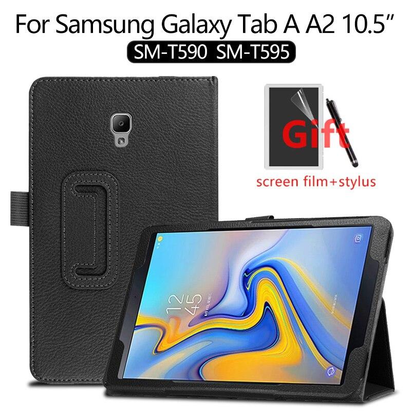 Funda para Samsung Galaxy Tab A A2 10,5 2018 funda para Samsung SM-T590 T595 T597 funda de cuero PU funda inteligente funda capa + film
