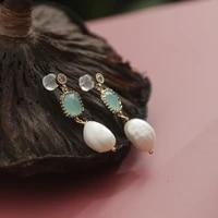 green purple natural freshwater white pearl dangle earring for women light blue crystal korean charm fashion jewelry