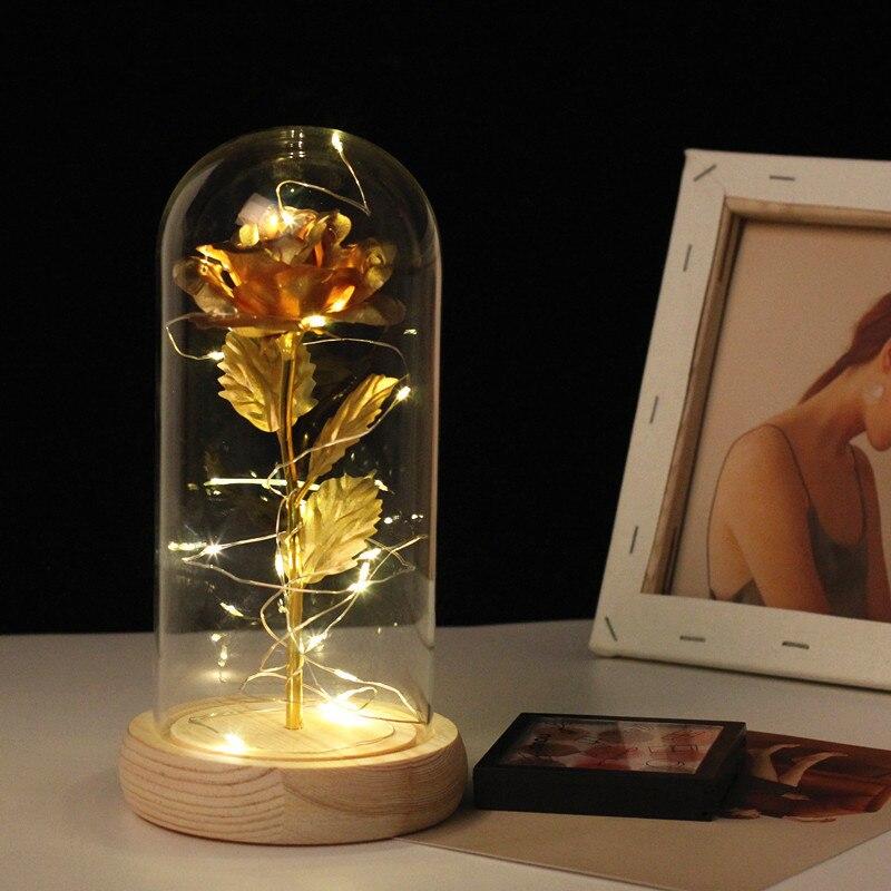 Magical rose flower lamp Kids Children Gift Chritmas Lava night luminaria lamp Battery Powered bloom led rose bottle lamp