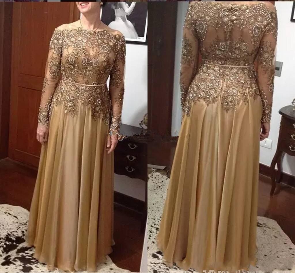 Vestidos de novia de la madre de la novia de talla grande de oro 2020 Bateau de manga larga línea de encaje con cuentas de cristal de gasa larga madre invitado de boda