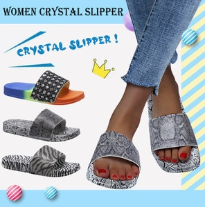 Women's Fashion Zebra Pattern Casual Flat Rainbow Leopard Crystal Outdoor Slip On Shoes Sandalias De las Mujeres туфли женские