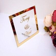 На заказ свадебное имя невесты зеркальная рамка Акриловые зеркальные приветственные гости знак слова вечерние Декор пластина с гвоздем лю...